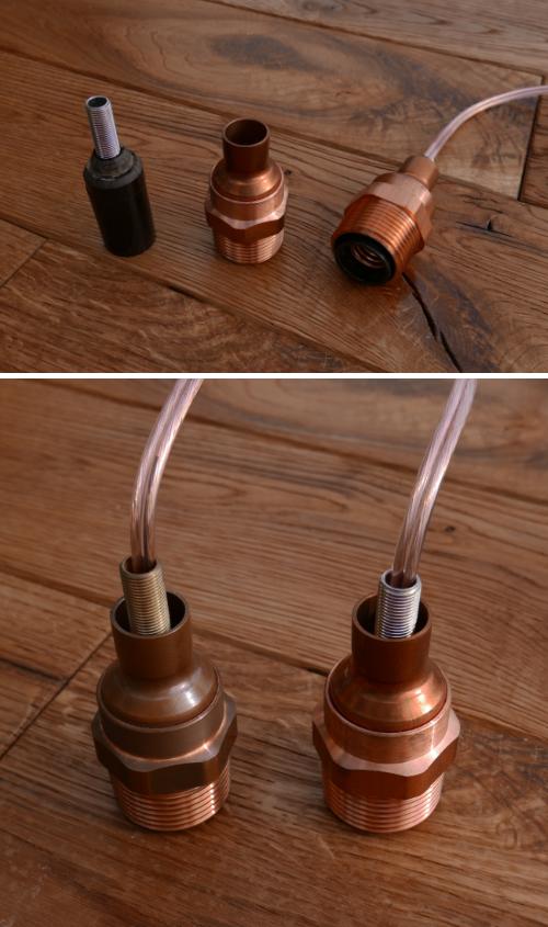 銅配管パーツ電球照明(分解)